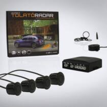 Univerzális hangszórós tolatóradar, 4 db fekete színû szenzorral, 8 db adaptergyûrûvel
