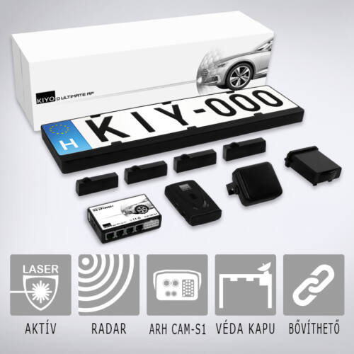 KIYO ULTIMATE AP 4 GPS RADAR: Komplett traffipaxvédelmi rendszer 4db rendszámkertbe építhető lézerszenzorral, GPS adatbázissal, radarmodullal.